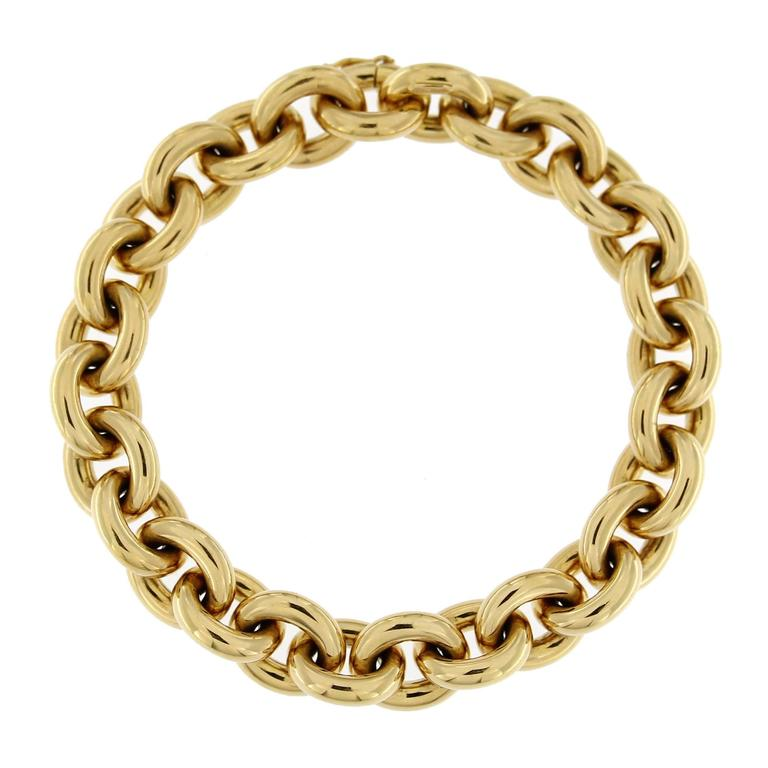 Jona 18 Karat Yellow Gold Hand Made Heavy Chain Link Bracelet In New Condition For Sale In Torino IT