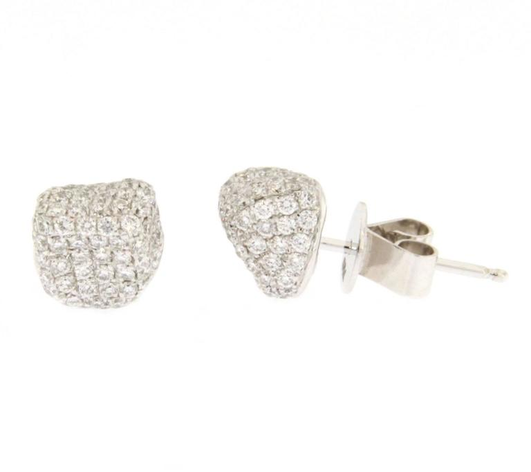 White Diamond 18k White Gold Stud Pebble Earrings