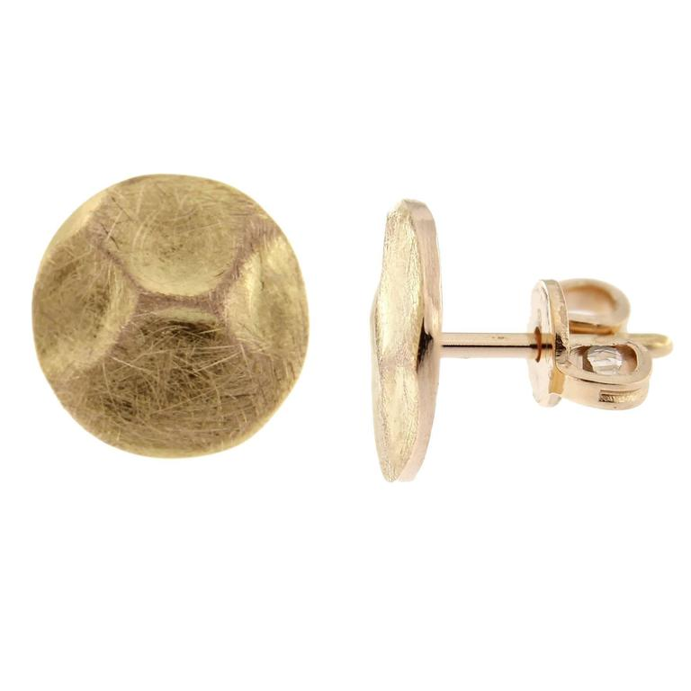 Jona design collection hand crafted in Italy brushed18 karat rose gold stud earrings. Dimensions: 0.39 inch- 1cm diameter. All Jona jewelry is new and has never been previously owned or worn. Each item will arrive at your door beautifully gift