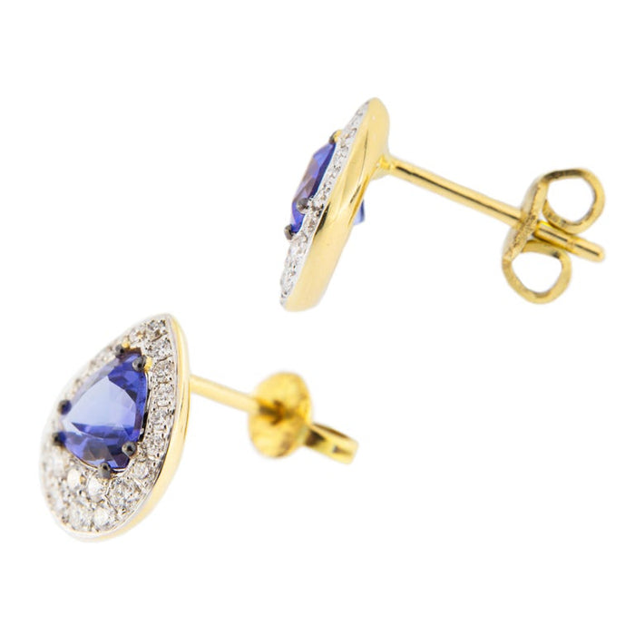 Jona Tanzanite 18k Gold White Diamond Stud Earrings For Sale 1