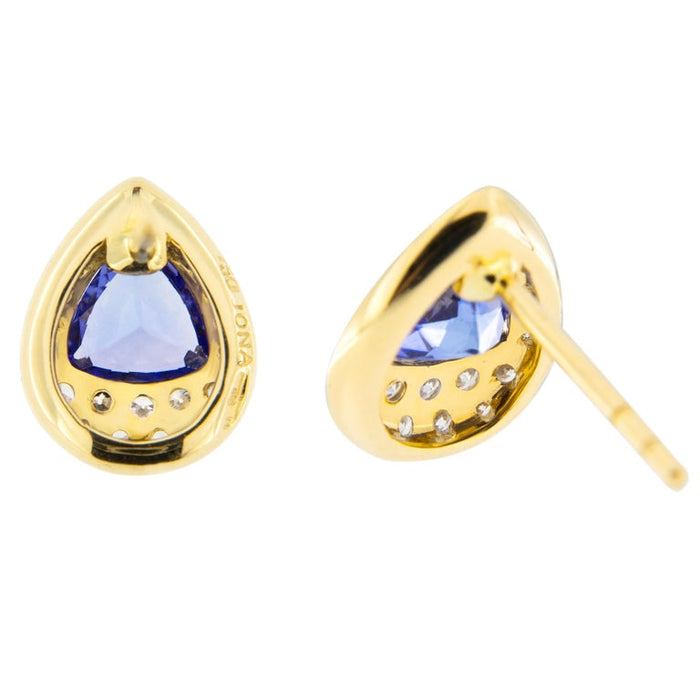 Jona Tanzanite 18k Gold White Diamond Stud Earrings For Sale 2