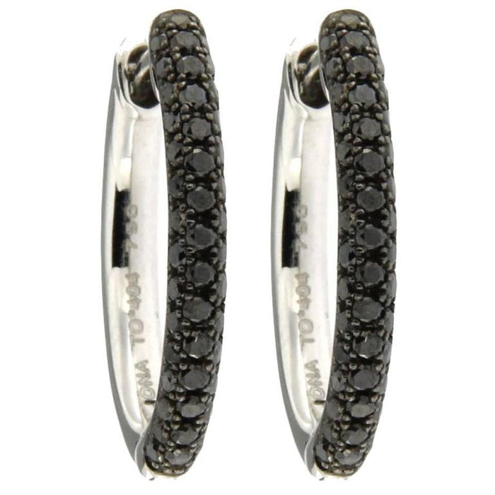 Black Diamond 18 Karat White Gold Hoop Earrings