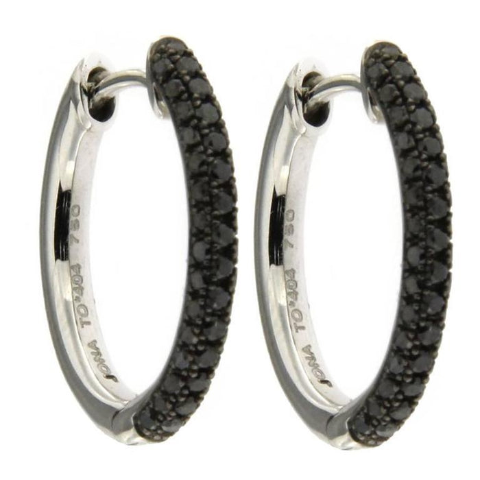 Jona Black Diamond 18 Karat White Gold Hoop Earrings In New Condition For Sale In Torino IT