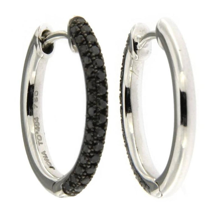 Women's Jona Black Diamond 18 Karat White Gold Hoop Earrings For Sale