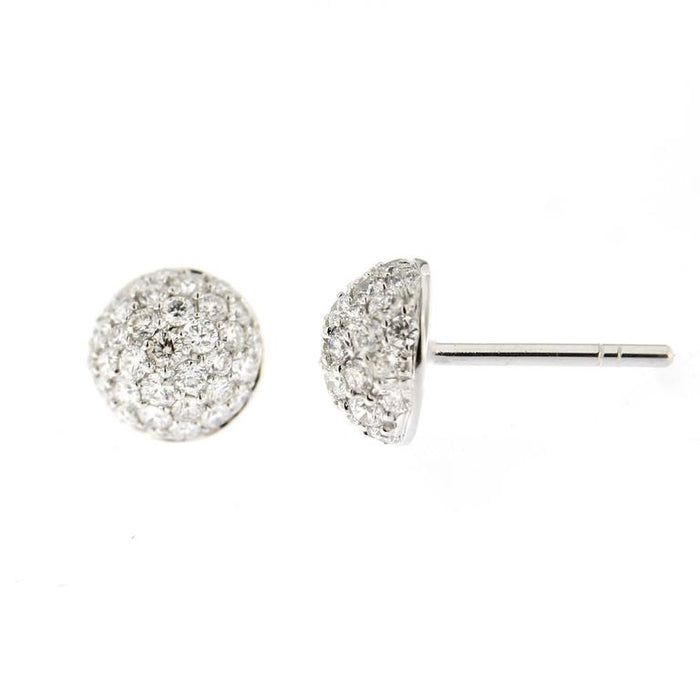 Jona White Diamond Pavé 18 Karat White Gold Semi Sphere Stud Earrings In New Condition For Sale In Torino IT