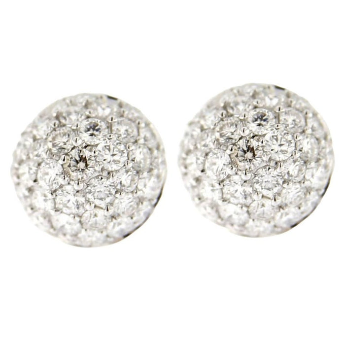 White Diamond Pavé 18 Karat White Gold Semi Sphere Stud Earrings