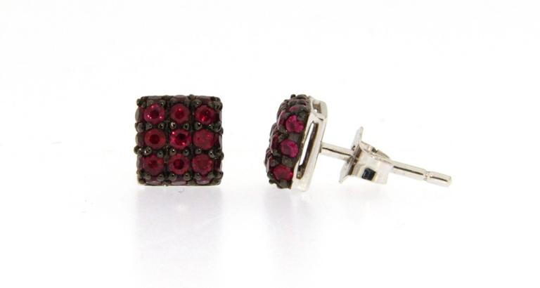 Women's Jona Ruby 18 Karat White Gold Square Stud Earrings For Sale