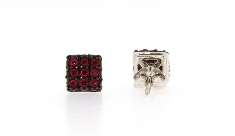 Jona Ruby 18 Karat White Gold Square Stud Earrings In New Condition For Sale In Torino IT