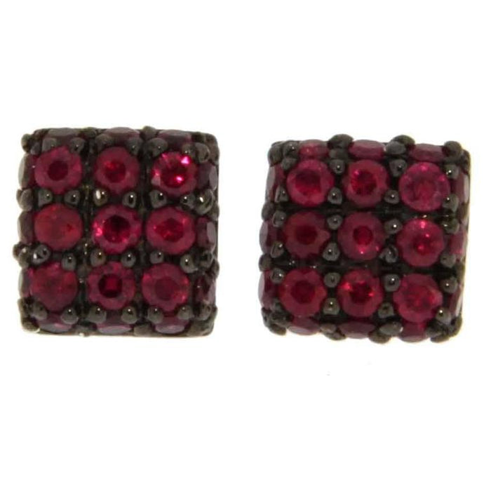 Ruby 18 Karat White Gold Square Stud Earrings