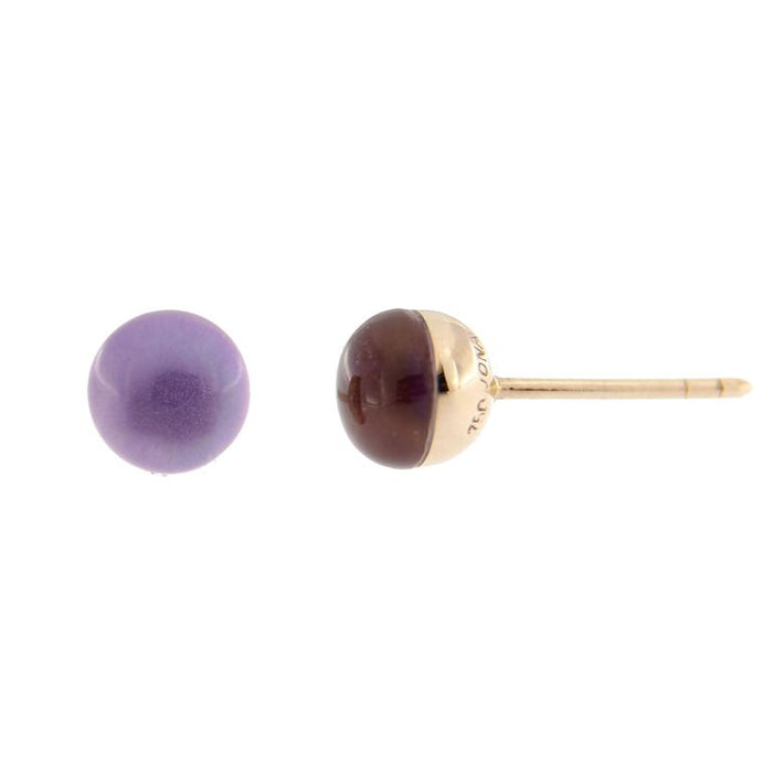 Jona Amethyst over Mother-of-Pearl 18k Yellow Gold Small Stud Earrings For Sale 1