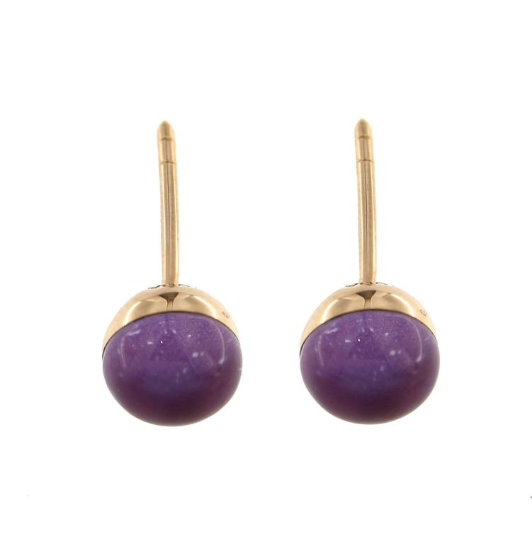 Jona Amethyst over Mother-of-Pearl 18k Yellow Gold Small Stud Earrings In New Condition For Sale In Torino IT
