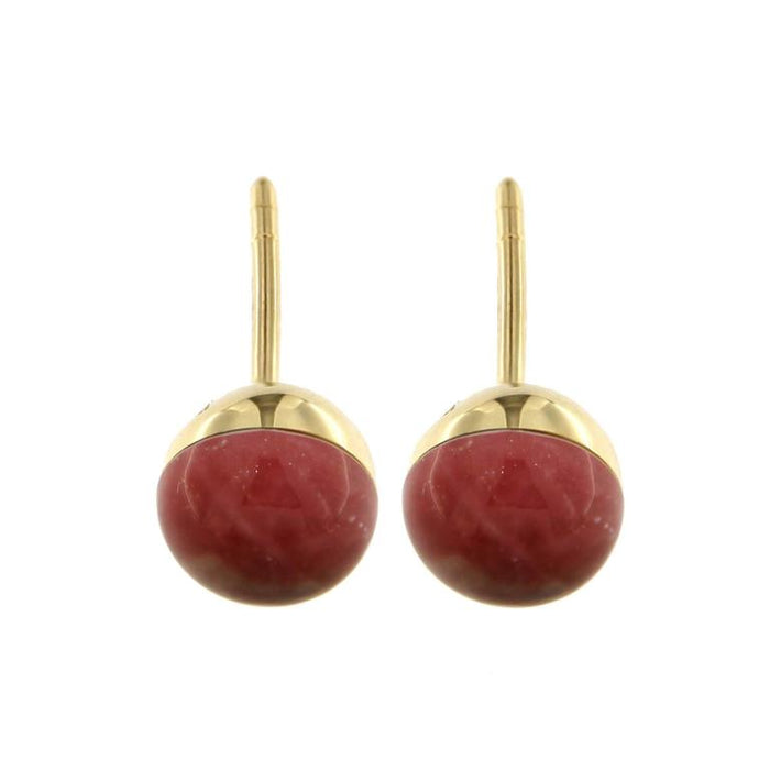Jona Rubelite Quartz 18 Karat Yellow Gold Small Stud Earrings In New Condition For Sale In Torino IT