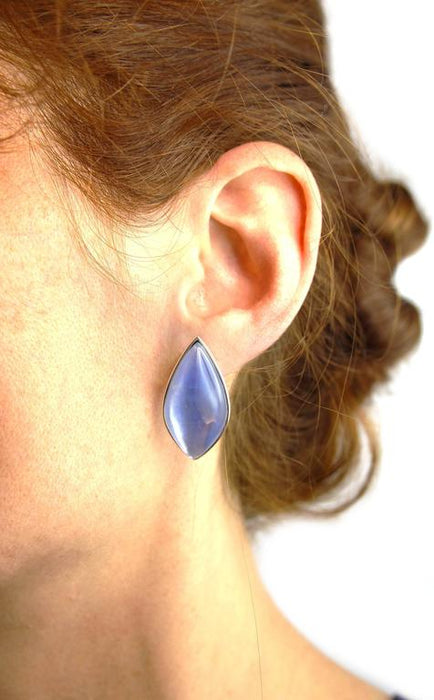 Jona design collection hand crafted in Italy 18 Karat white gold earrings set with a cabochon cut Quartz over Lapis Lazuli and Mother of Pearl weighing 54.28 carats. Clips can be mounted upon request. Dimensions: H 1.10 in x W 0.47 in x D 0.43 in