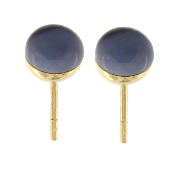 Lapis Lazuli Quartz 18 Karat Yellow Gold Small Stud Earrings