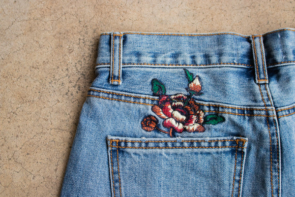 LUCY HIGH-WAISTED EMBROIDERED BOHO DENIM SHORTS