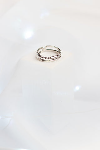 SILVER DOUBLE UP ADJUSTABLE RING