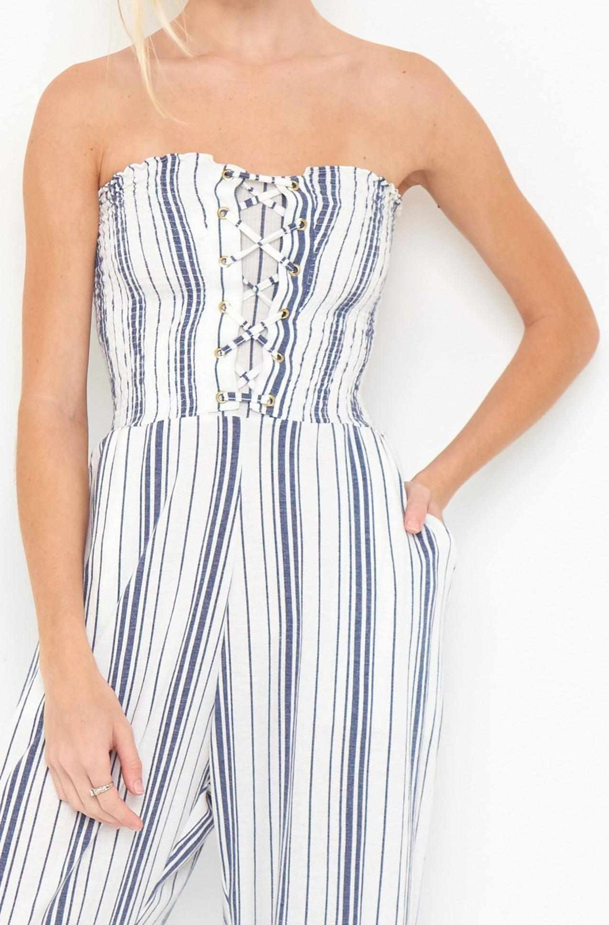 Bondi Jumpsuit x Blue/White Stripe