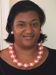 Large Pearl Necklace Set - Pink
