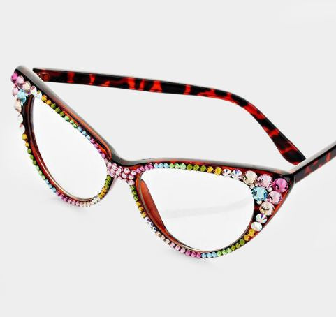 Fashion Crystal Eyewear-Brown/AB