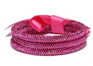 3PC Rhinestone Bangle Layered Bracelet-Pink