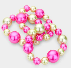3PC Stretch Pink&Green Bracelet