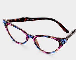 Cat Eye Fashion Crystal Readers - Multi Crystals/Brown Frames