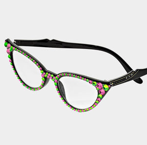 Cat Eye Fashion Crystal Readers - Pink/Green-Black