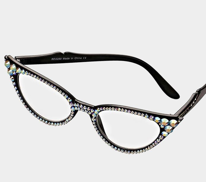 Cat Eye Fashion Crystal Readers - AB Black Frames