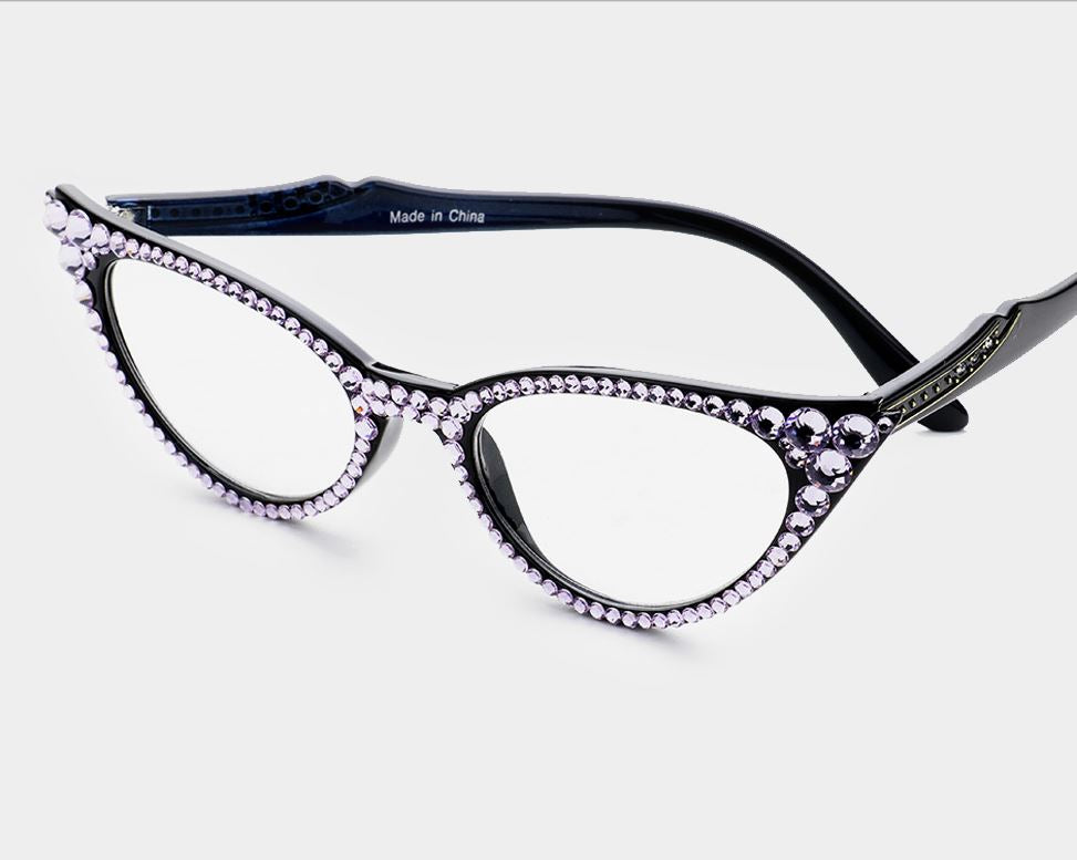 Cat Eye Fashion Crystal Readers - Violet/Black