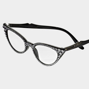 Cat Eye Fashion Crystal Readers - Grey/Black Frames