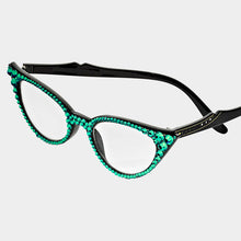 Load image into Gallery viewer, Cat Eye Fashion Crystal Readers - Emerald Green