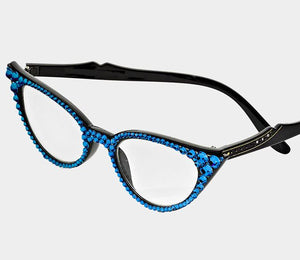 Cat Eye Fashion Crystal Readers - Royal Blue-Black Frames