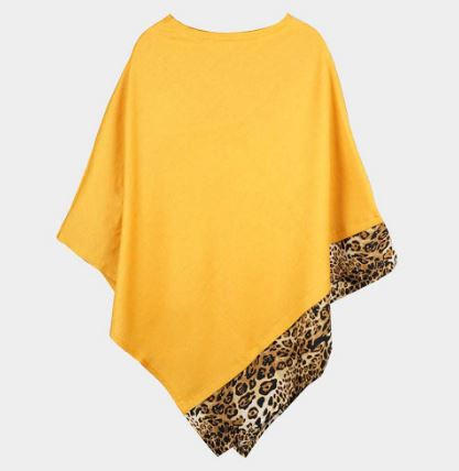 Solid Animal Trim Poncho-Yellow