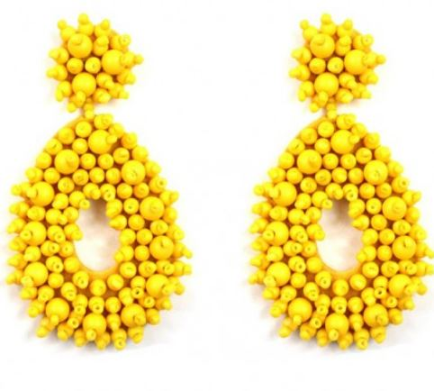 Teardrop Beaded Earring-Yellow