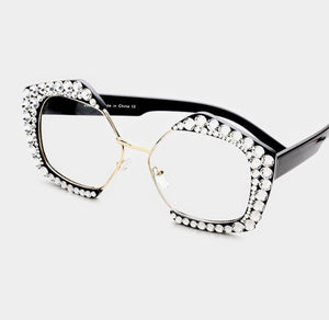 Rhinestone Clear Octagon Glasses - Clear/Black
