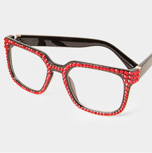Load image into Gallery viewer, Fashion Square Crystal Red Eyeglasses