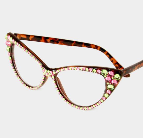 Fashion Crystal Eyewear Brown Frames-Pink/Green
