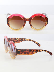 Round Glitter Sunglasses-Pink/Brown