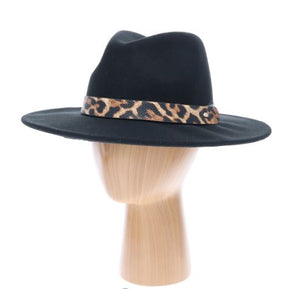 Wool Fedora Faux Cheetah Band Rancher Hat-Black