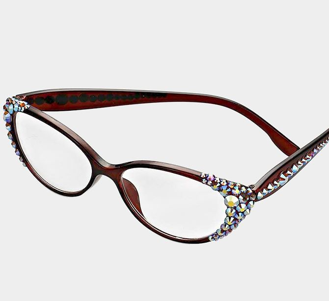 Crystal Oval Reading Glasses-AB/Brown