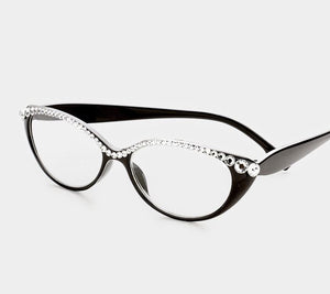 Semi Crystal Oval Cat Eye Reading Glasses-Black/Clear