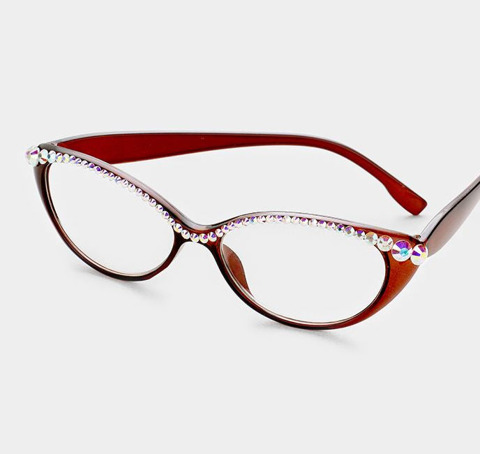 Semi Crystal Oval Cat Eye Reading Glasses-AB - Brown Frames