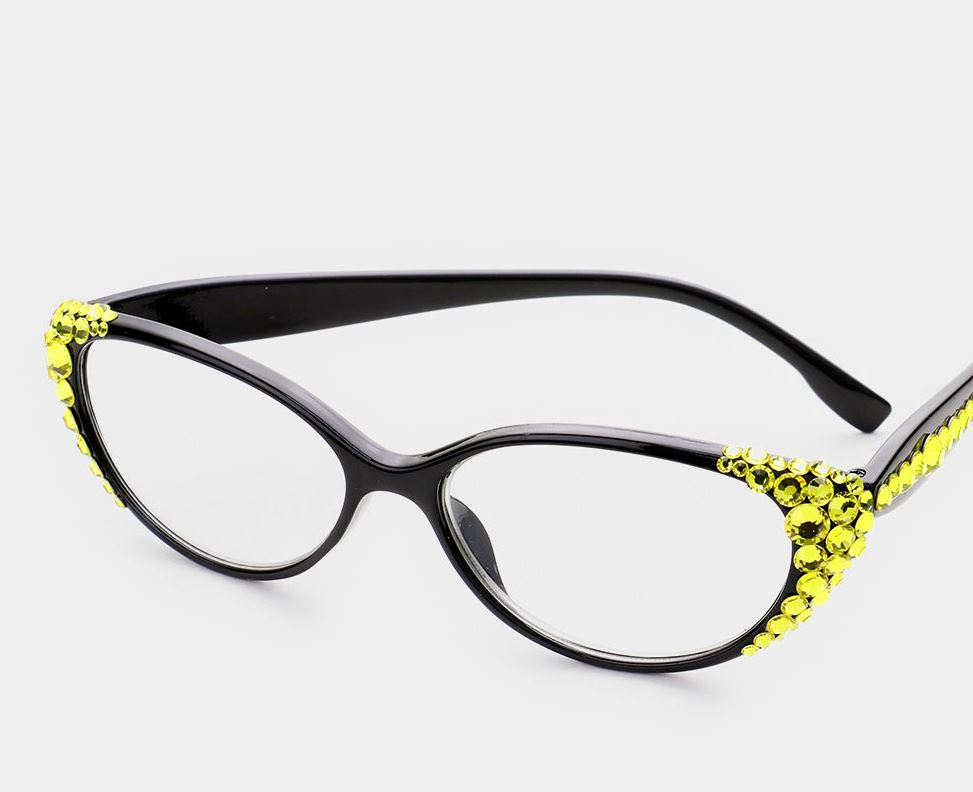Crystal Oval Reading Glasses-Yellow/Black Frames