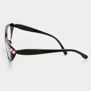 Semi Crystal Oval Cat Eye Reading Glasses-Pink/Green-Black Frames