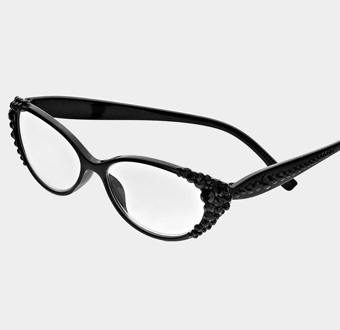 Crystal Oval Reading Glasses-Black