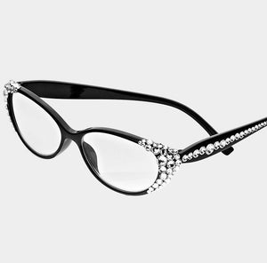 Crystal Oval Reading Glasses-Clear/Black