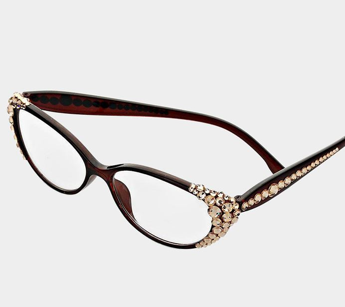 Crystal Oval Reading Glasses-Peach