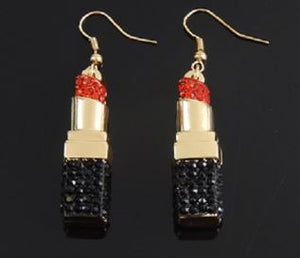 Rhinestone Lipstick Earrings