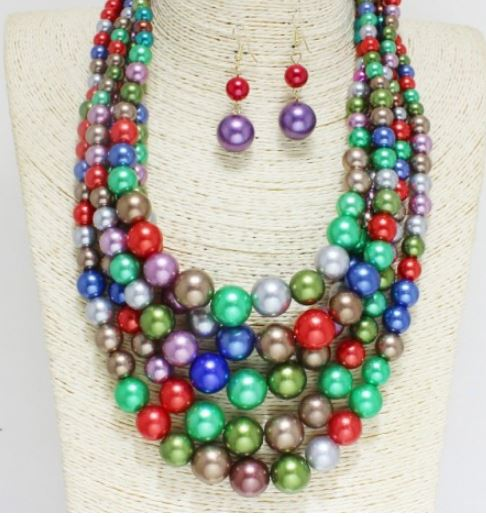 Multi Color Bead Necklace Set