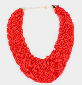 Beaded Acrylic Necklace Set-Red
